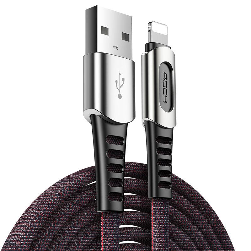 Cablu de date USB to Lightning Rock M8 Zn-Alloy - RCB0694 - Black