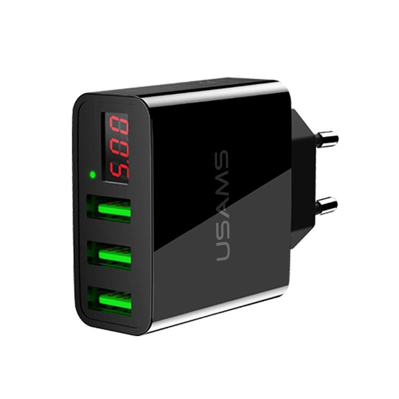 Incarcator Priza USAMS LED Display Travel Charger 3xUSB - US-CC035 - Black