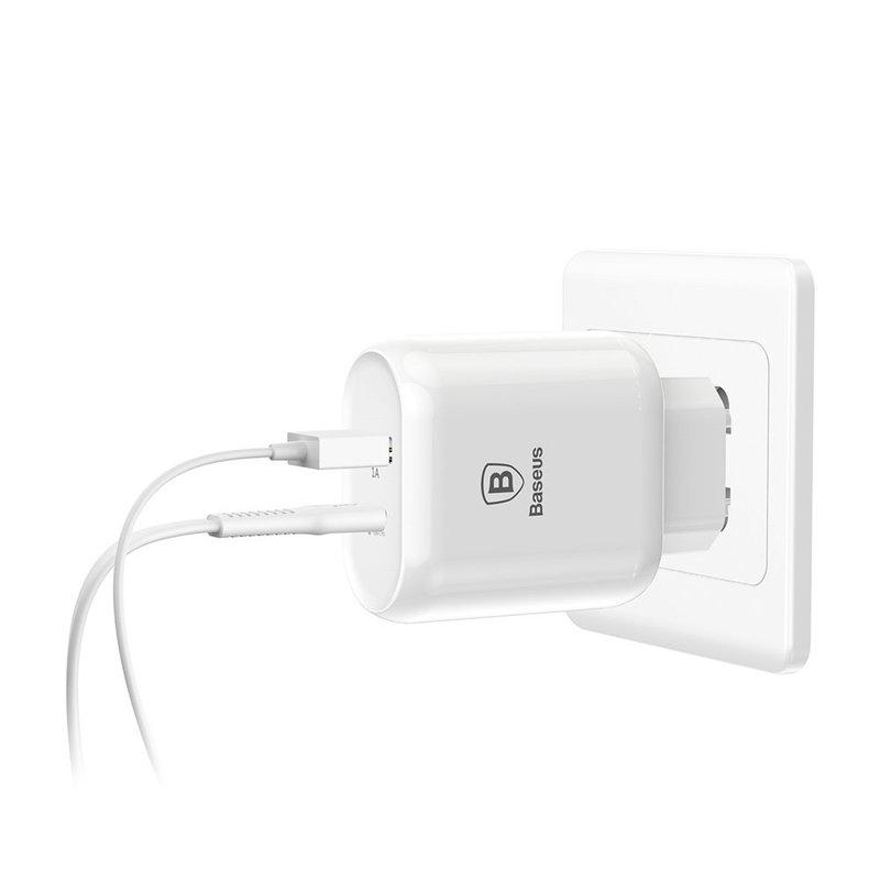 Incarcator Priza Baseus Bojure USB / Type-C PD 32W + Cablu Lightning- Alb TZTUN-BJ02