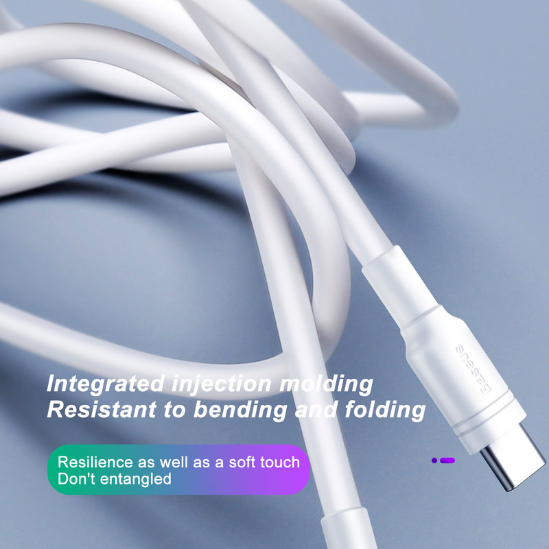 Cablu de date USB to Type-C Baseus Double-Ring Quick Charge - CATSH-B02 - White