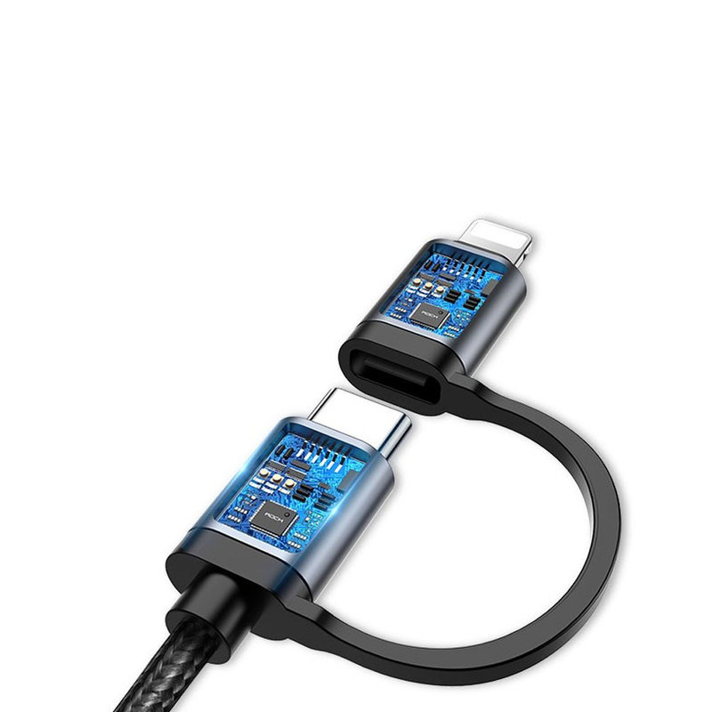 Cablu de date Rock Quick Charge 2in1 Type-C to Type-C/Lightning - RCB0691 - Black