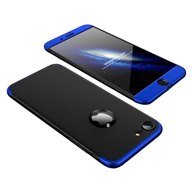 Husa iPhone 7 GKK 360 Full Cover Logo Cut Negru-Albastru