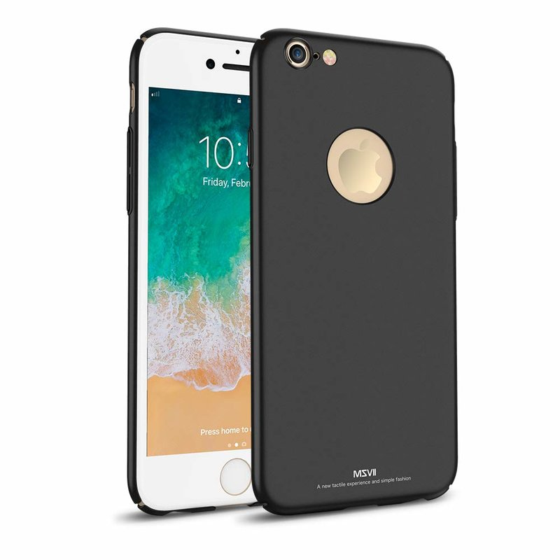Husa iPhone 7 MSVII Ultraslim Back Cover Logo Cut - Black