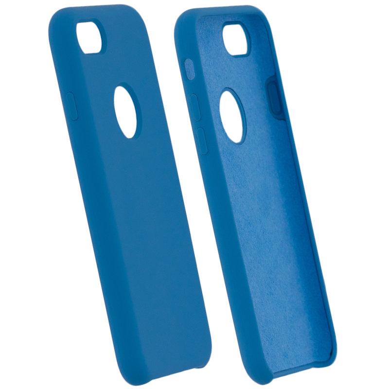 Husa iPhone 8 Silicon Soft Touch Cu Decupaj Sigla - Bleu