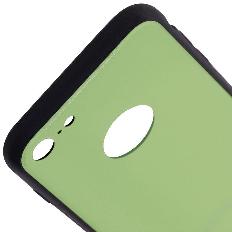 Husa iPhone 7 Glass Series Logo Cut - Verde