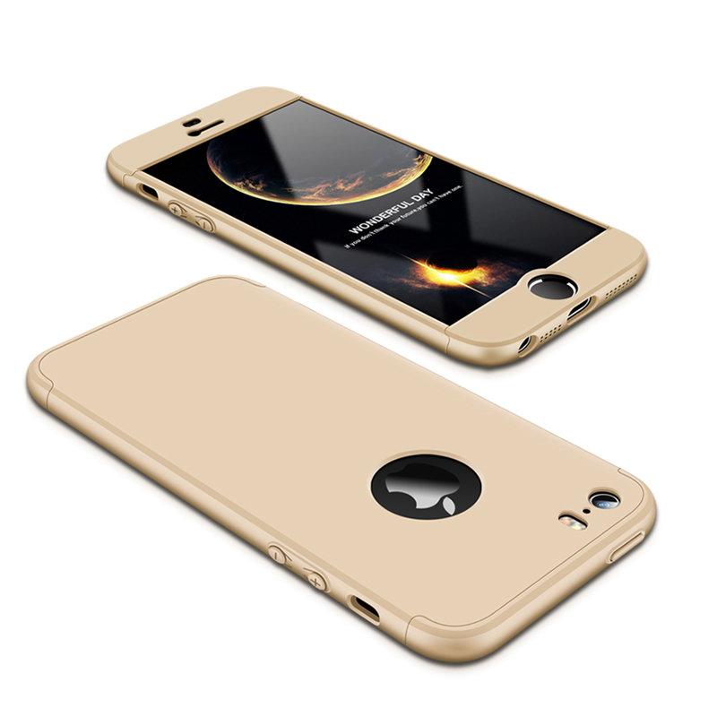 Husa iPhone 5 / 5s / SE GKK 360 Full Cover Logo Cut Auriu