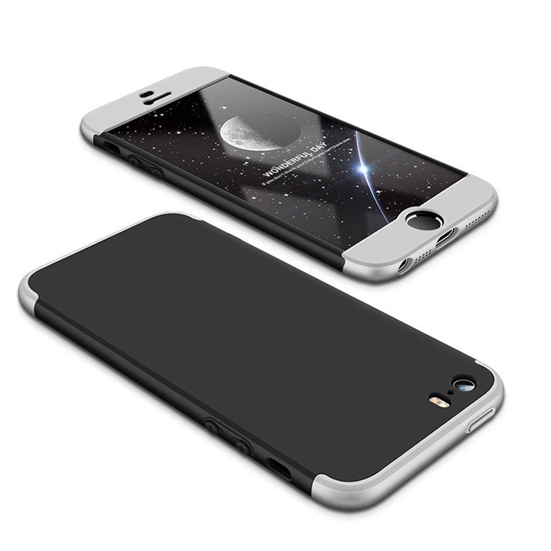 Husa iPhone 5 / 5s / SE GKK 360 Full Cover Negru-Argintiu
