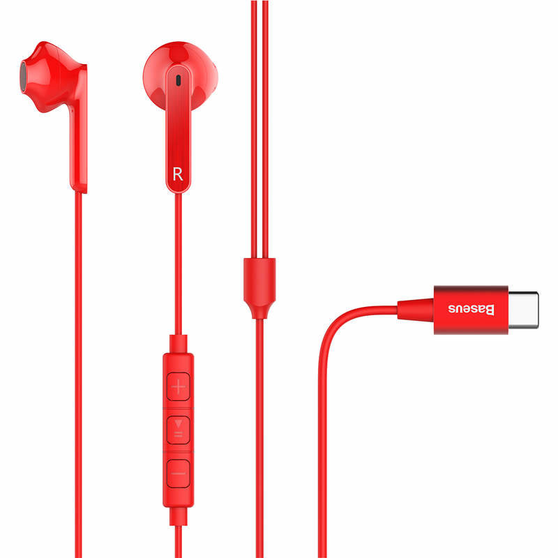 Casti In-Ear Cu Microfon Baseus Encok Wire Earphone C16 Type-C - NGC16-09 - Red