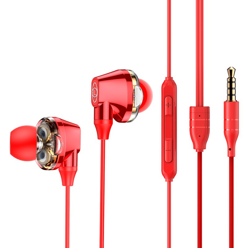 Casti In-Ear Cu Microfon Baseus Encok H10 Wired with Dual Moving-coil - NGH10-09 - Red