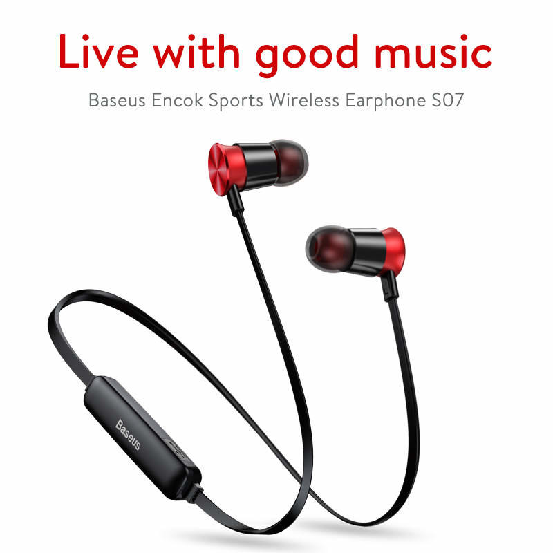 Casti In-Ear Wireless  Baseus Encok Sports S07 Bluetooth Headset 60 mAh - NGS07-19 - Black/Red