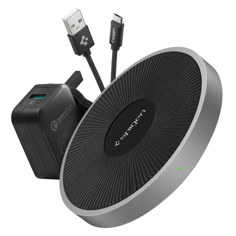 Incarcator Wireless Spigen F306W Essential Fast Charger - Silver