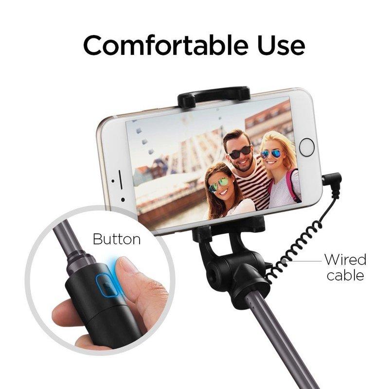 Suport Selfie Stick Cu Cablu Spigen Aluminum Monopod - S530 - Black