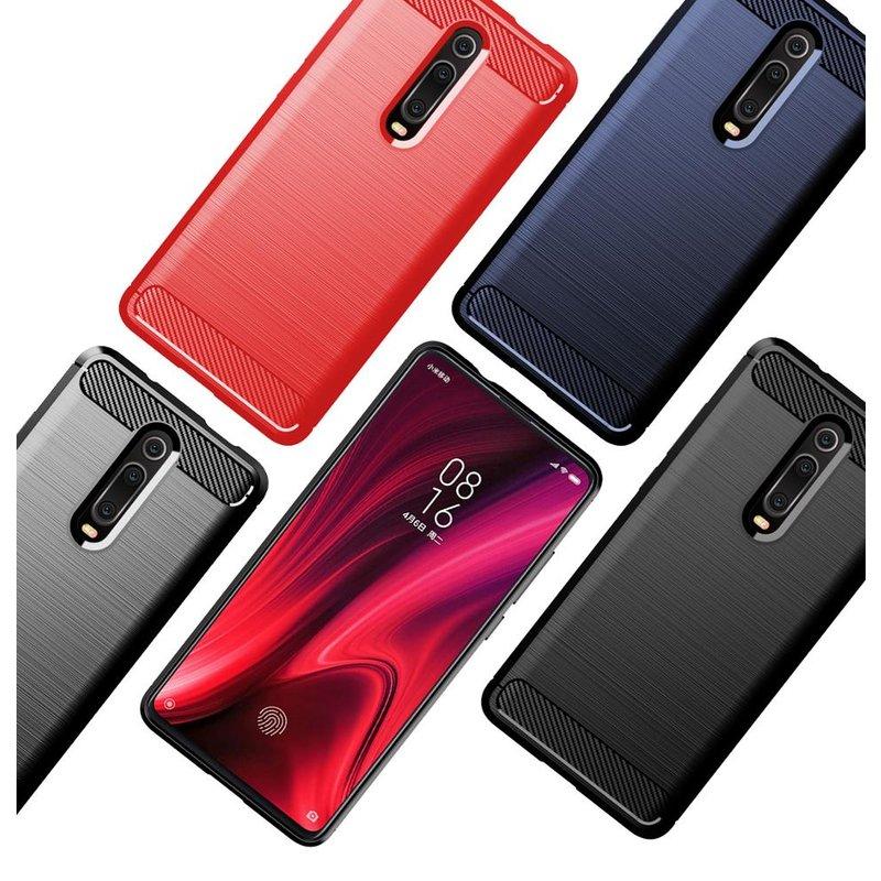 Husa Xiaomi Mi 9T Pro TPU Carbon Albastru