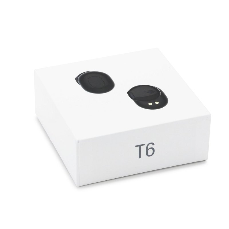 Casti In-Ear Wireless Stereo Bluetooth TWS T6 with Power Bank - Black