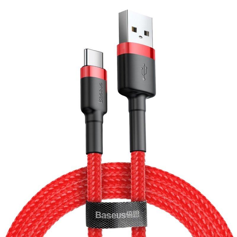 Cablu de date Type-C Baseus Cafule 3M Lungime Cu Invelis Textil - CATKLF-U09 - Red