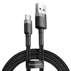 Cablu de date Type-C Baseus Cafule 3M Lungime Cu Invelis Textil - CATKLF-UG1 - Black/Gray