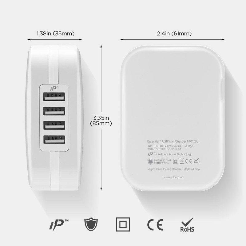Incarcator Priza Spigen Essential F401 cu 4 Port-uri USB - White