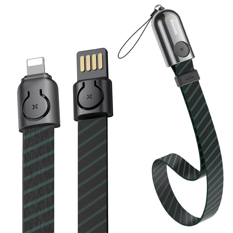 Cablu De Date Baseus Golden Collar USB For Lightning 2.4A 35cm - CALJL-AW1 - Stripe Black
