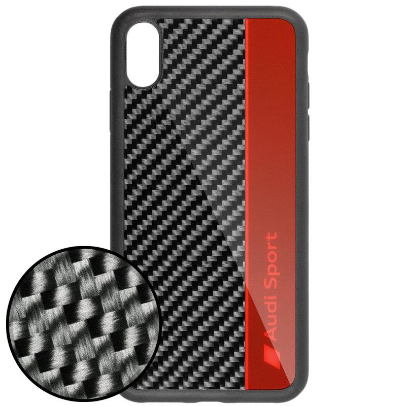 Husa iPhone XS Max Audi Sport Carbon - Rosu XSM-R8/D1-RD