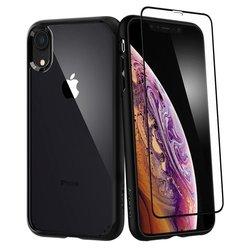 [PACHET 360°] Husa + Sticla IPhone XR SPIGEN Ultra Hybrid - Black