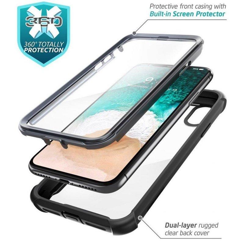 [Pachet 360°]Husa iPhone XS SupCase i-Blason Ares V2 + Folie Ecran - Black