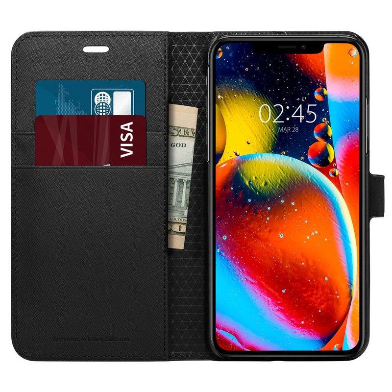 Husa iPhone 11 Pro Max Spigen Wallet S - Saffiano Black