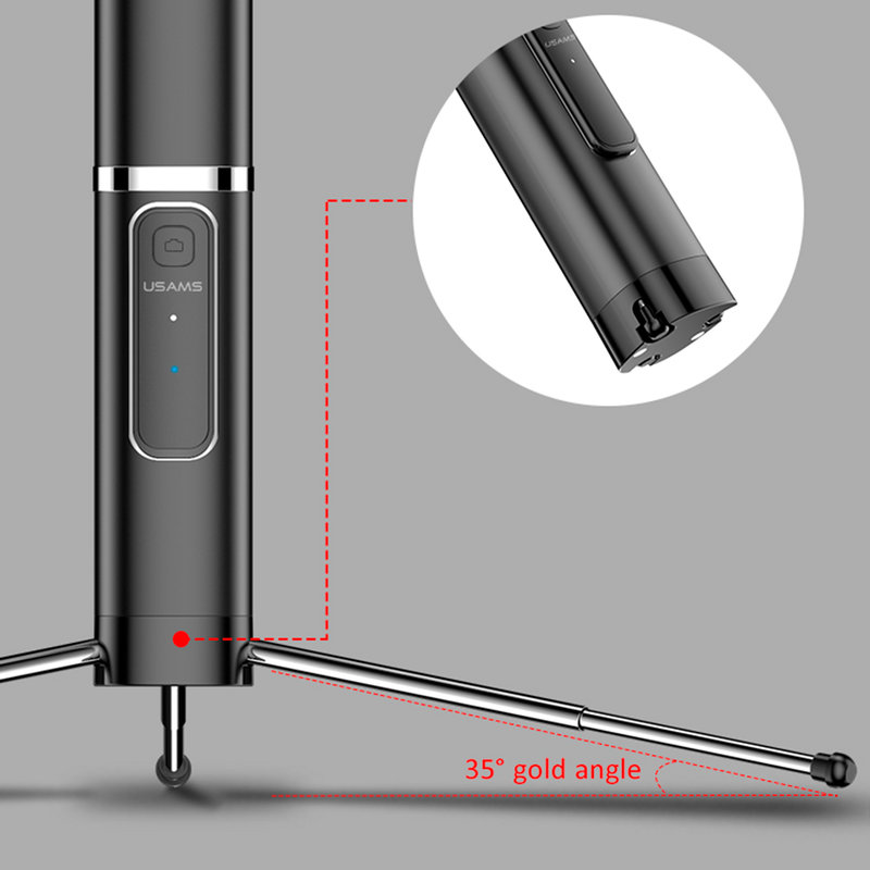 Suport Selfie Stick Wireless USAMS Phantom US-ZB064 + Tripod Telescopic Stand - ZB6402 - Pink