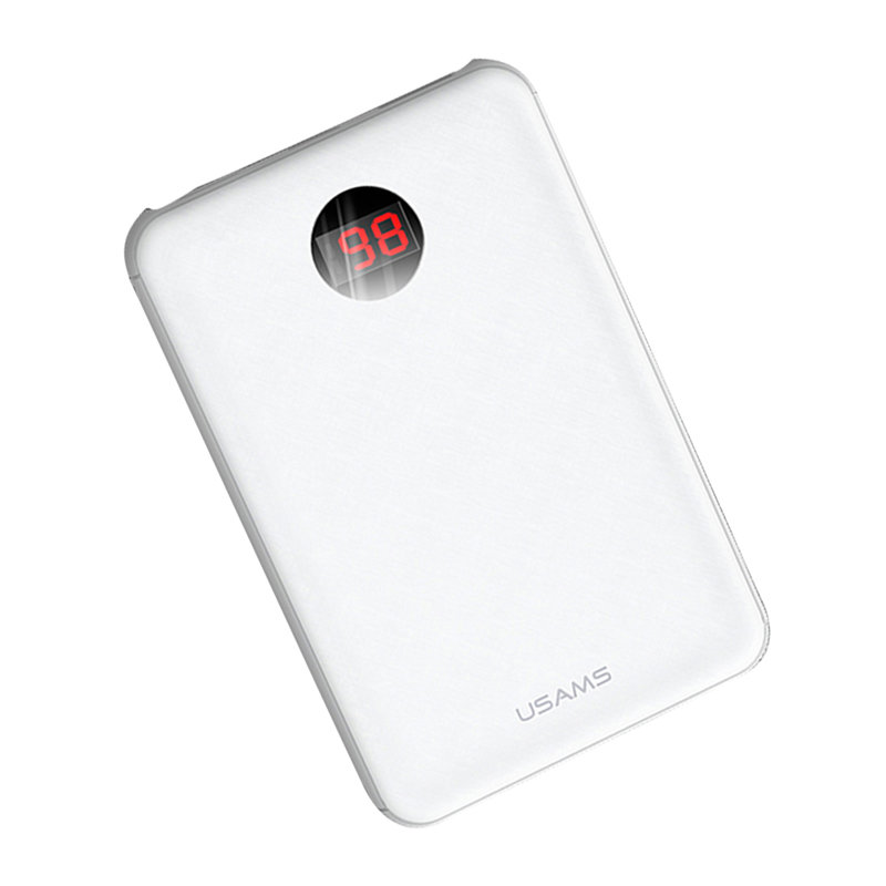 Baterie Externa USAMS PB13 Digital Power with Cables 10000mAh - US-CD74 - White