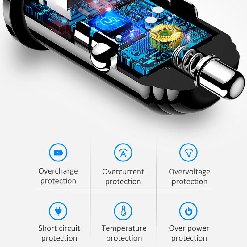 Incarcator Auto USAMS C8 Dual USB Mini 3.1A - US-CC055 - Black