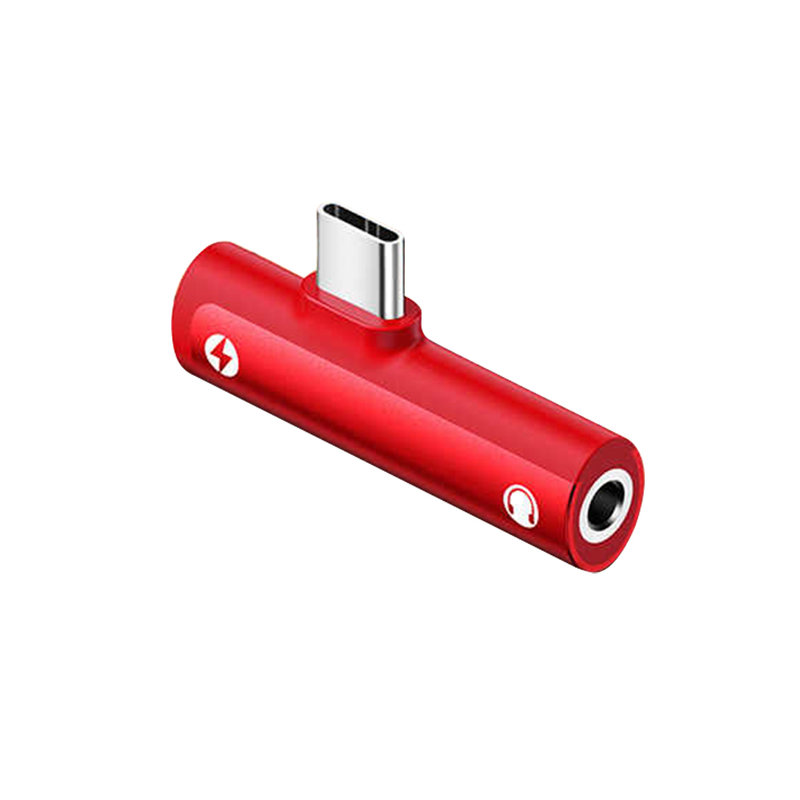 Convertor Audio USAMS AU07 Adapter from Type-C to Jack 3.5mm & Type-C - SJ277 - Red
