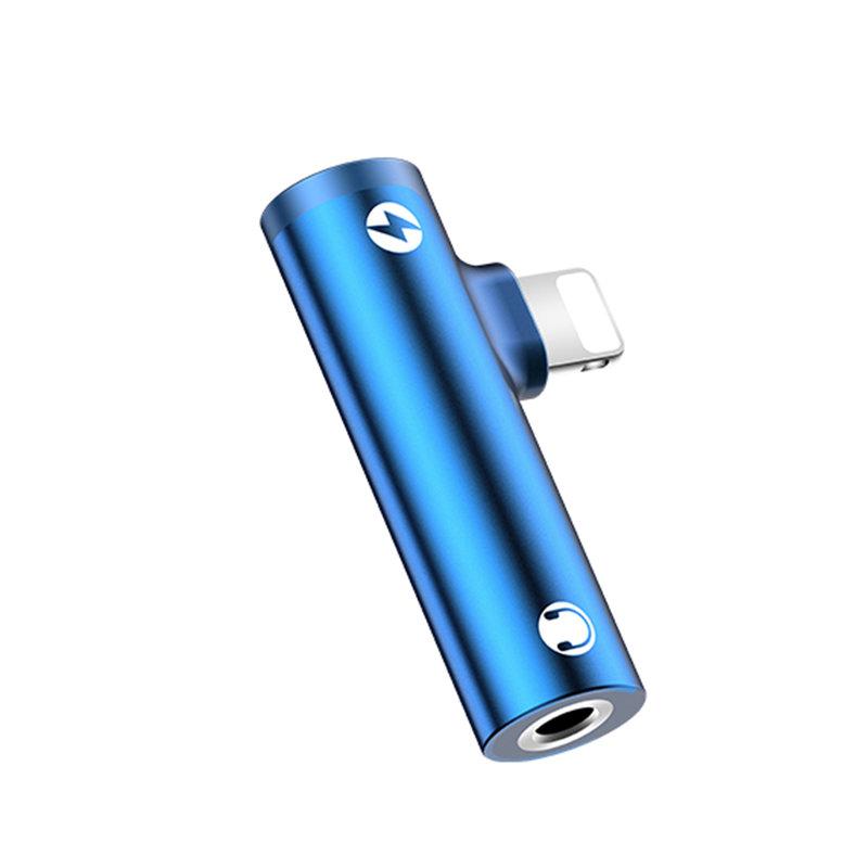 Convertor Audio USAMS AU07 Adapter from Lightning to Jack 3.5mm & Lightning - SJ276 - Blue