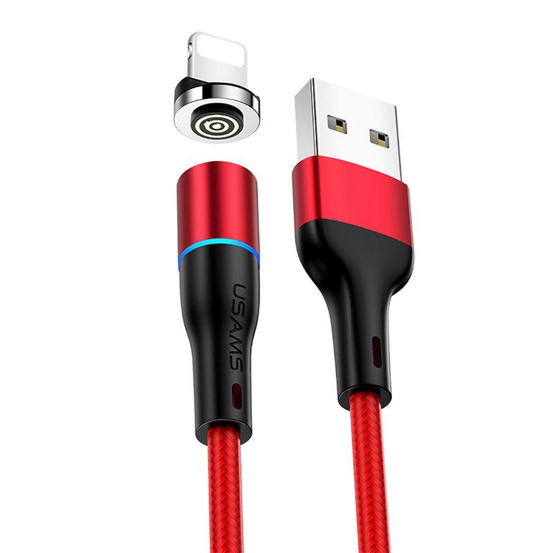 Cablu de date USAMS U32 Cu Mufa Magnetica Detasabila Lightning 1M - US-SJ352 - Red