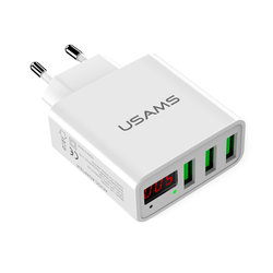 Incarcator Priza USAMS LED Display Travel Charger 3xUSB - US-CC035 - White