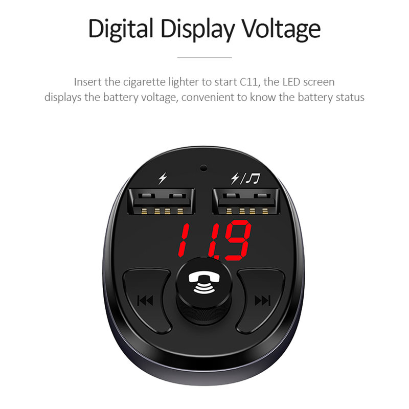 Incarcator Auto Cu Modulator FM USAMS C11 MP3 Wireless Transmitter - US-CC062 - Black