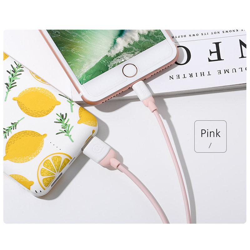Cablu de date USAMS Ice Cream Fast Charge USB to Lightning 1M - US-SJ245 - Pink