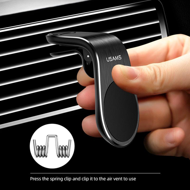 Suport Auto Pentru Telefon Magnetic USAMS Air Vent Clip - US-ZJ046 - Black