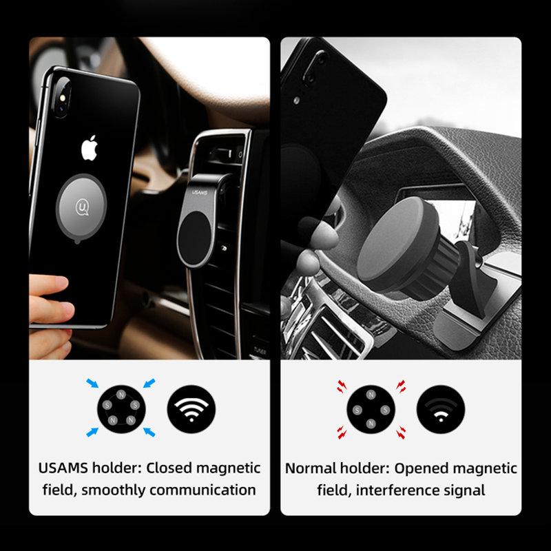 Suport Auto Pentru Telefon Magnetic USAMS Air Vent Clip - US-ZJ046 - Red