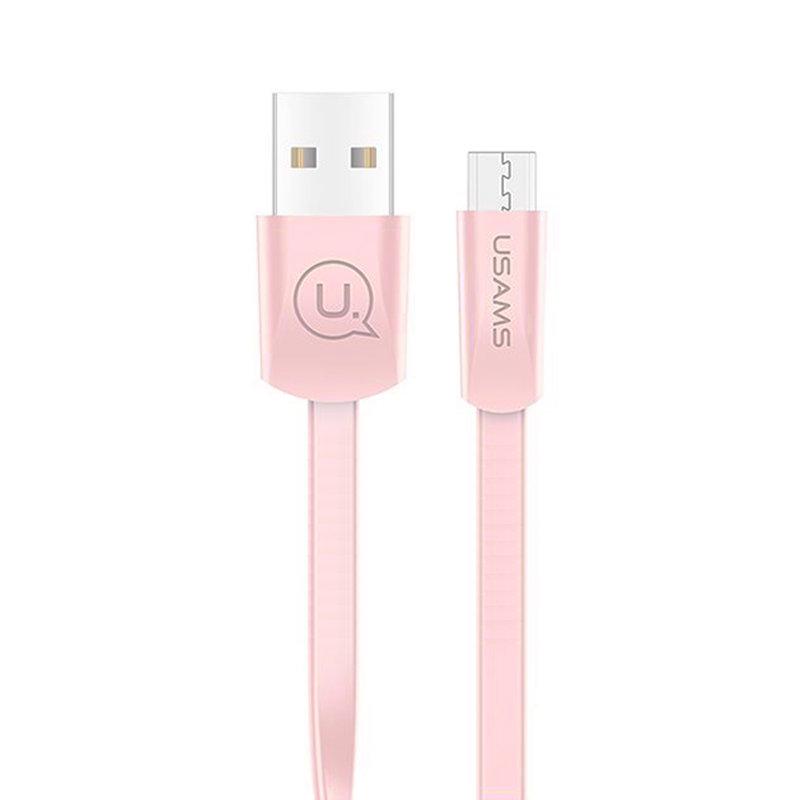 Cablu de date USAMS U2 Fast Charge USB to Micro-USB 1.2M - US-SJ201 - Pink