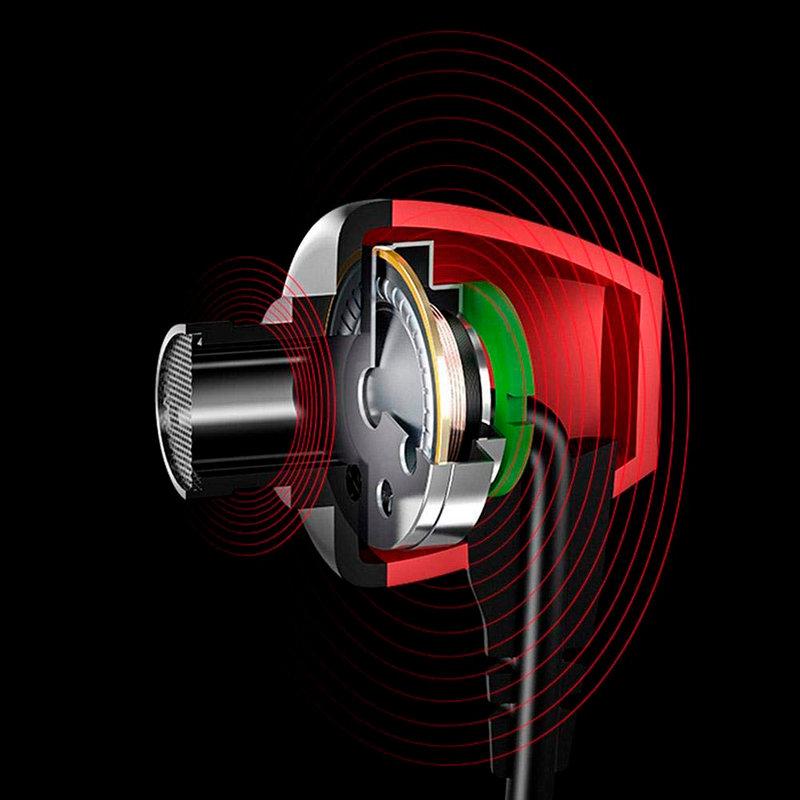 Casti In-Ear Cu Microfon USAMS EP-19 Mini Jack Hi-Fi Noise Insulation - US-SJ189 - Black/Red