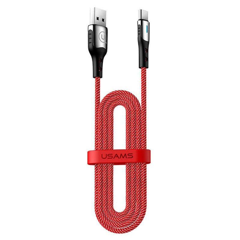 Cablu de date USAMS U27 Fast Charging USB to Type-C 1.2M - 5A - US-SJ319 - Red