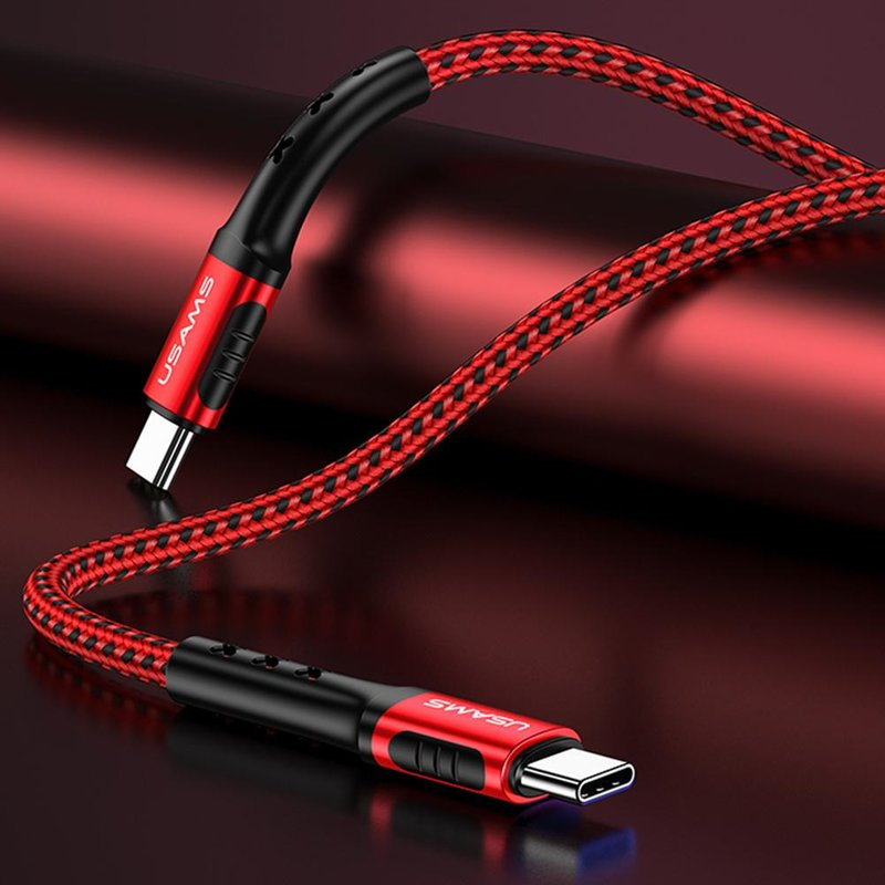 Cablu de date USAMS U24 Fast Charging USB to Type-C 1.2M - 5A - US-SJ289 - Red