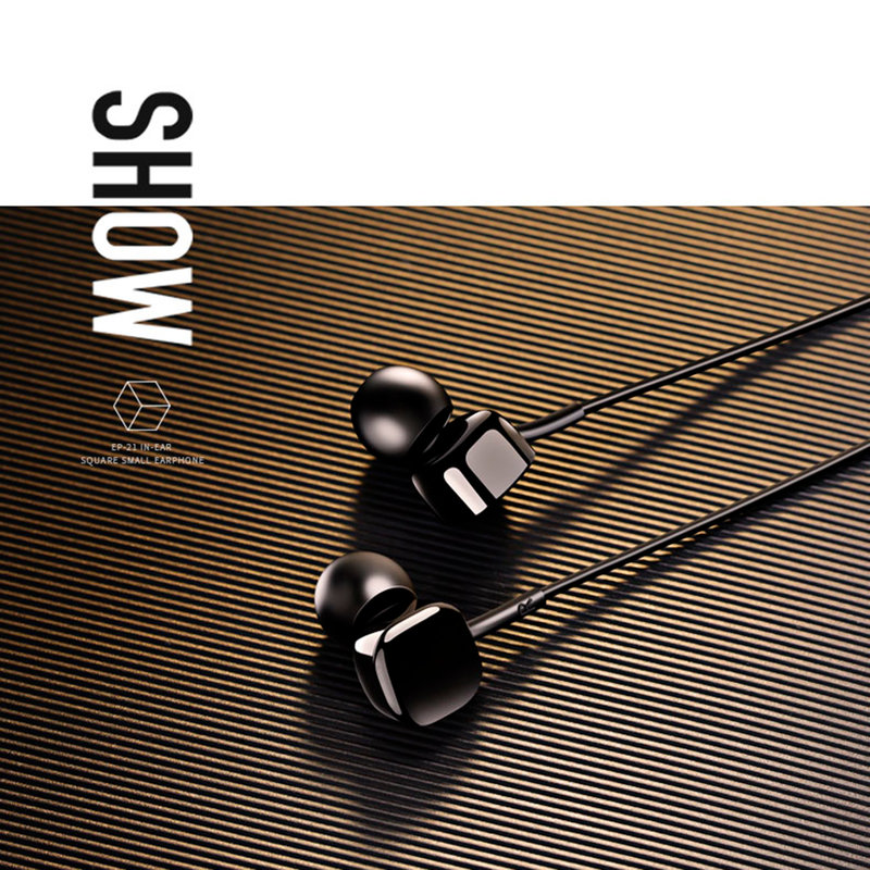 Casti In-Ear Cu Microfon USAMS EP-21 Square Small Earphone Wire 3.5mm - US-SJ206 - Black