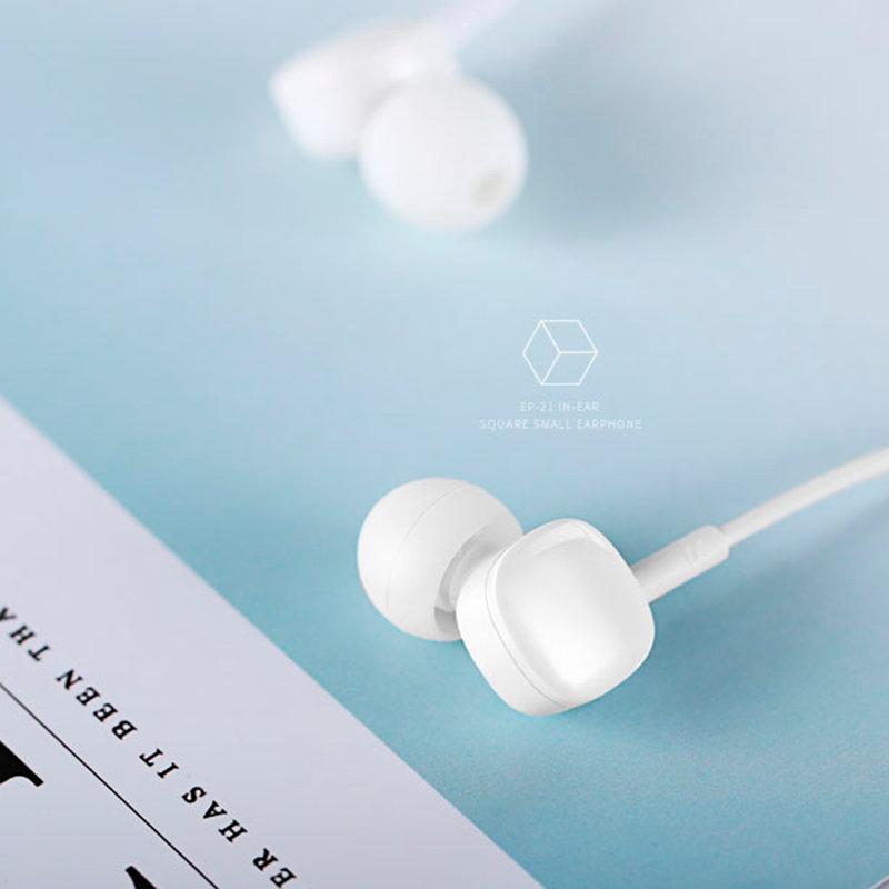 Casti In-Ear Cu Microfon USAMS EP-21 Square Small Earphone Wire 3.5mm - US-SJ206 - White