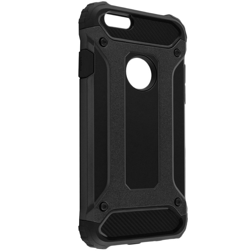 Husa iPhone 6,6S Mobster Hybrid Armor Cu Decupaj Pentru Sigla - Negru