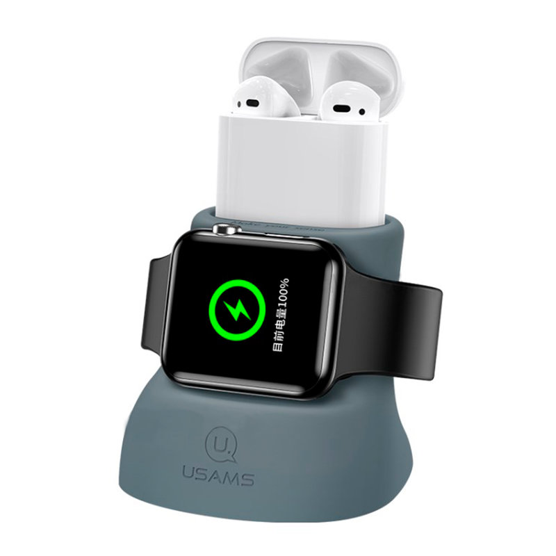 Suport De Incarcare USAMS 2IN1 For Apple Watch And AirPods - US-ZJ051 - Gray