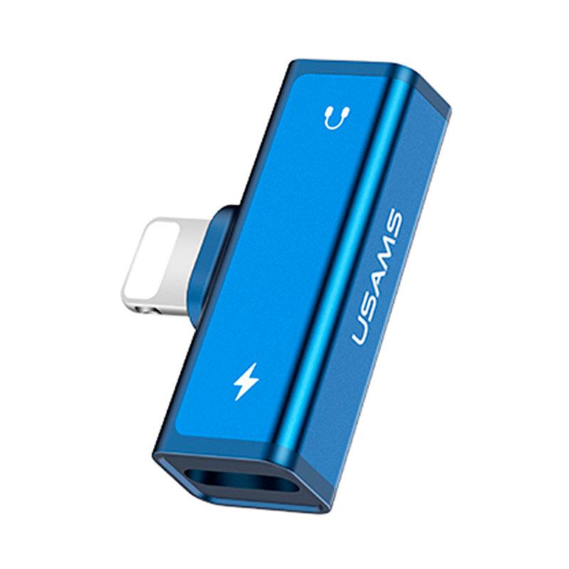Adaptor USAMS AU05 Dual Lightning Charging And Audio Adapter - US-SJ270 - Blue