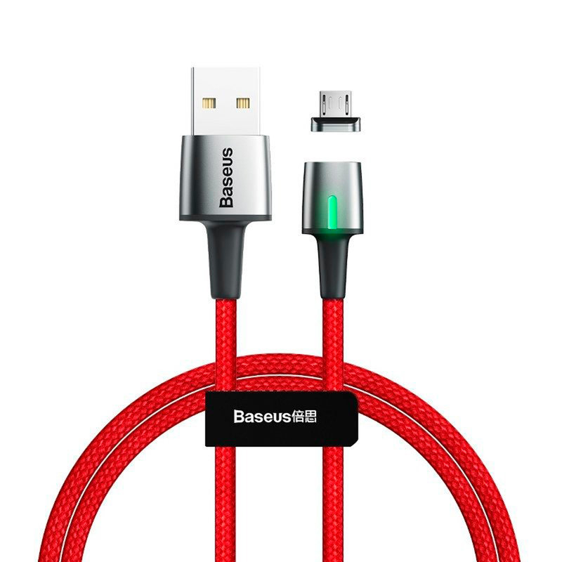Cablu De Date Baseus Zinc Magnetic USB For Micro-USB 2.4A 1M - CAMXC-A09 - Red