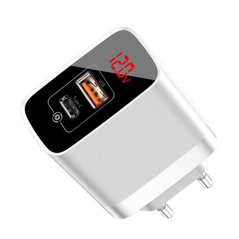 Incarcator Priza Baseus Mirror Lake USB/Type-C Quick Charge 18W Cu Display - CCJMHC-A02 - Alb