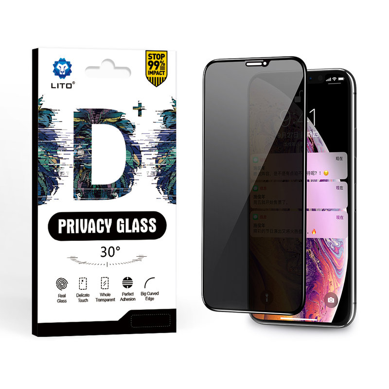 Folie Sticla Huawei P Smart Z Lito Privacy Cu Rama - Negru