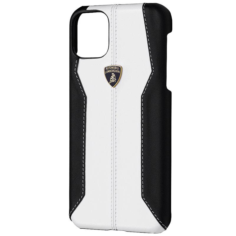 Husa iPhone 11 Pro Max Lamborghini Huracan D1 Genuine Leather - Alb